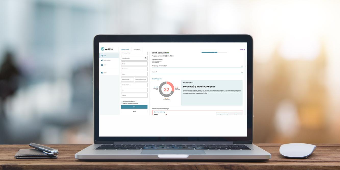 Bild på dator med Valtives kreditupplysning
